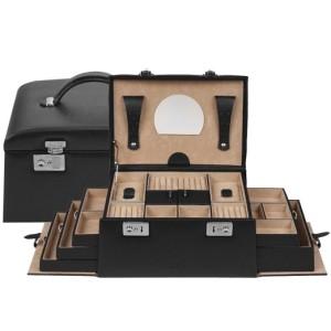 3. Windrose Schmuckkoffer - Windrose Beluga Schmuckkoffer mit 5 Seitenschubladen 8 schwarz