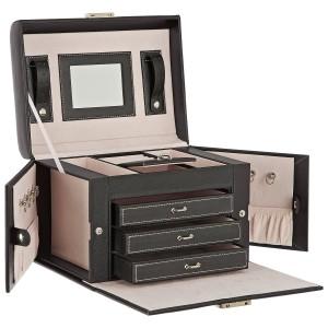 Schmuckkoffer Leder - DAILYDREAM® Exklusives Schmuckkästchen Schmuckkasten in schwarz mit 3 Schubladen und weiteren Extras