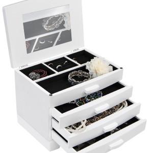 Schmuckkoffer kaufen - Weißer Schmuckkasten Schmuckschatulle Schmuckaufbewahrung mit Schubfächern inklusive Extra-Fach mit aufklappbarem Deckel